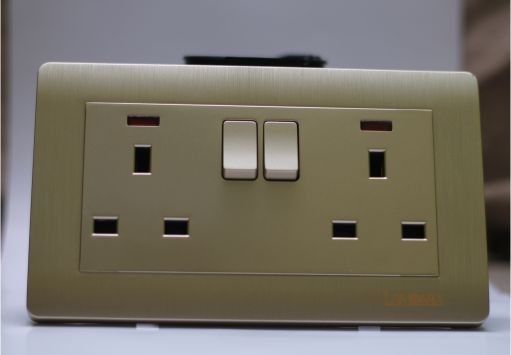13A DOUBLE SWITCH SOCKETLED (GOLD)